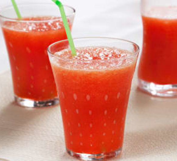 Granizado de naranja con fresas